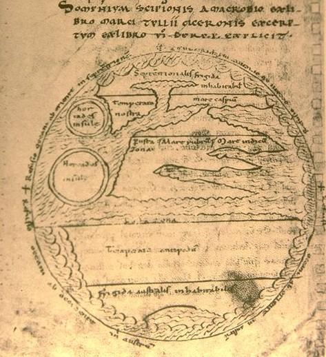 Zonen-Weltkarte zu Ambrosius Theodosius Macrobius (5.Jhd.n.Chr.),