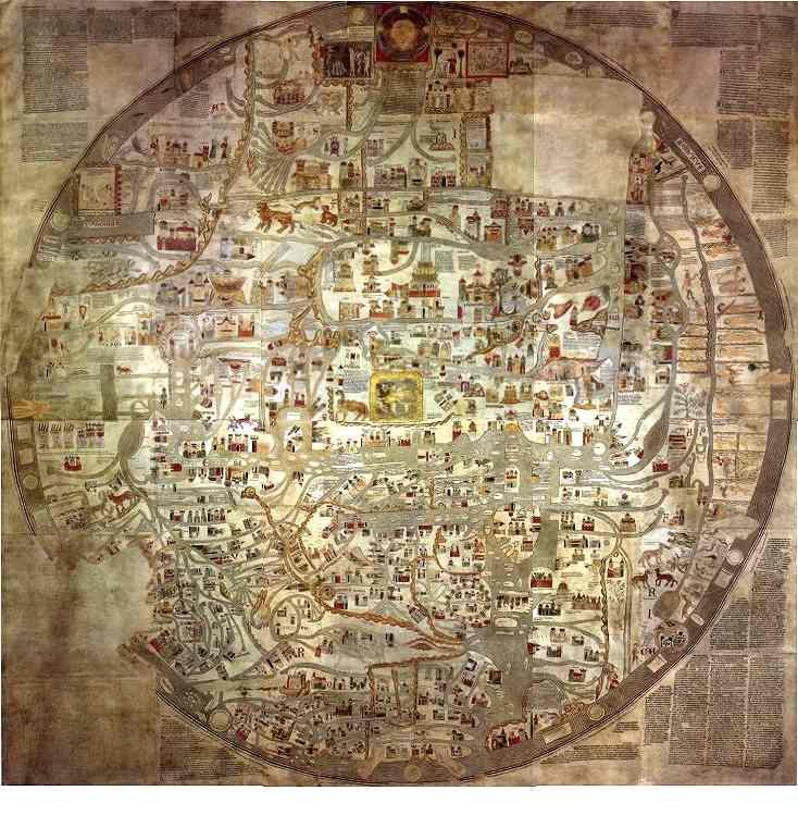 Die Ebstorfer Weltkarte des Gervasius (von Tilbury), Probst in Ebstorf (erste Hälfte des 13.Jahrhunderts) Größte Radkarte des Mittelalters - Durchmesser des im Zweiten Weltkrieg verbrannten Originals: etwa 3,50 m; in den Fünfziger Jahren des 20.Jhds. wurden vier Nachbildungen aufgrund der älteren photographischen Dokumentationen erstellt.