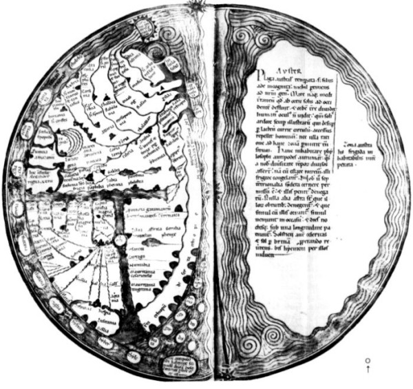 Karte gemäß Martianus Capella im Lamberti Liber Floridus, 12. Jhd. Wolfenbüttel, Herzog August Bibliothek