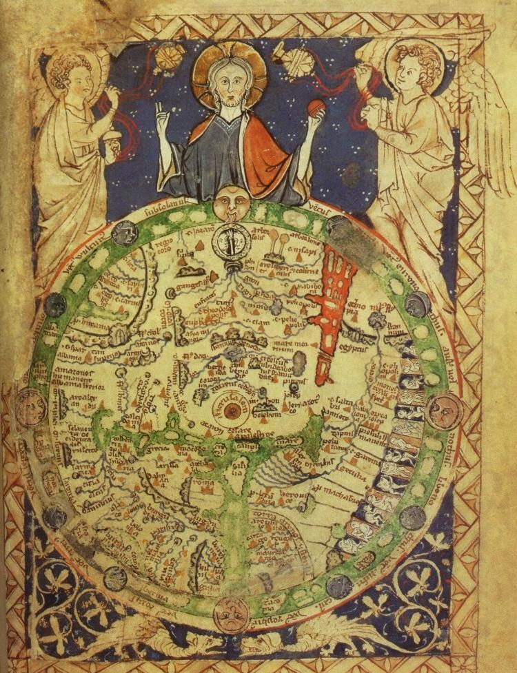 """Die """"Londoner Psalterkarte"""" (1.Hälfte 13.Jhd.) Psalmenbuch, London, British Library Add. MS 28681, recto und verso"""