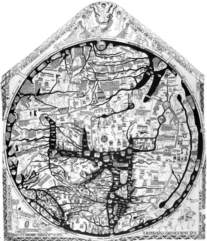 Weltkarte des Richard von Haldingham (~1280), Kathedrale von Hereford
