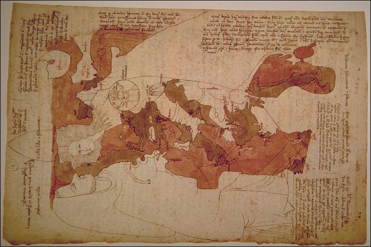 Opicinus de Canistris Weltkarte 1296 - 1300
