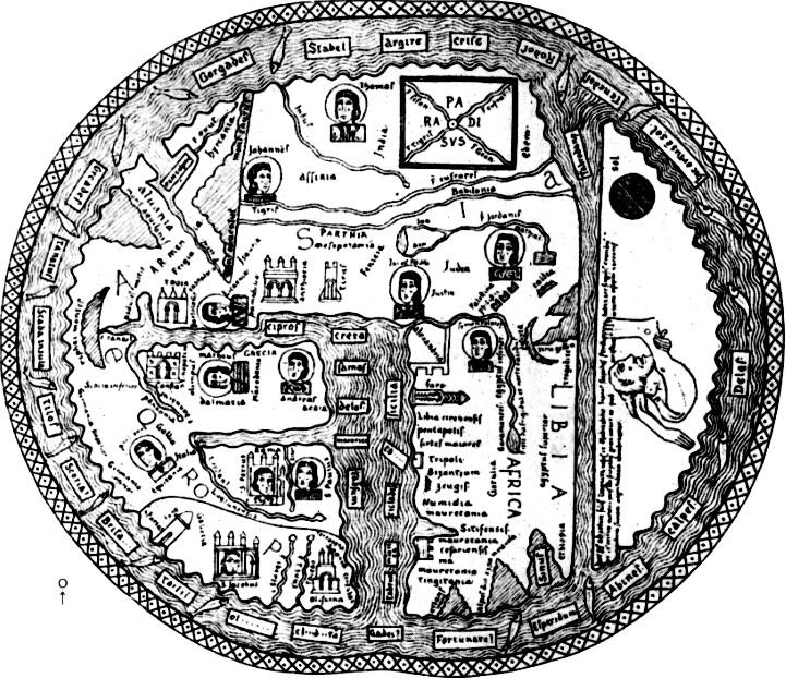Beatuskarte von Osma 8. Jhd. aus einer Handschrift von 1203 Burgo de Osma, Kathedralbibliothek
