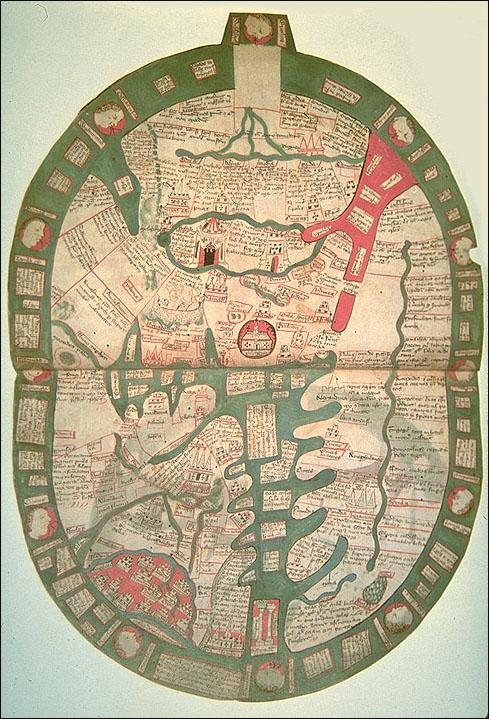 Weltkarte von  Ranulf Higden Polychronicon, 1350 (Osten - Obenp)