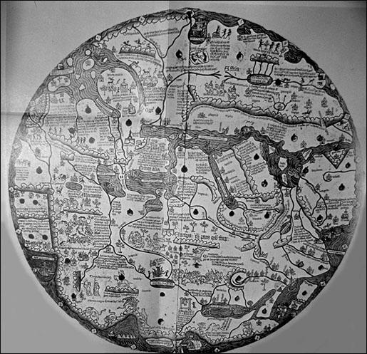 Borgia Weltkarte frühes  15te Jh. (1410-1458) (Süden-Oben; graviert auf einer Eisenplatte)