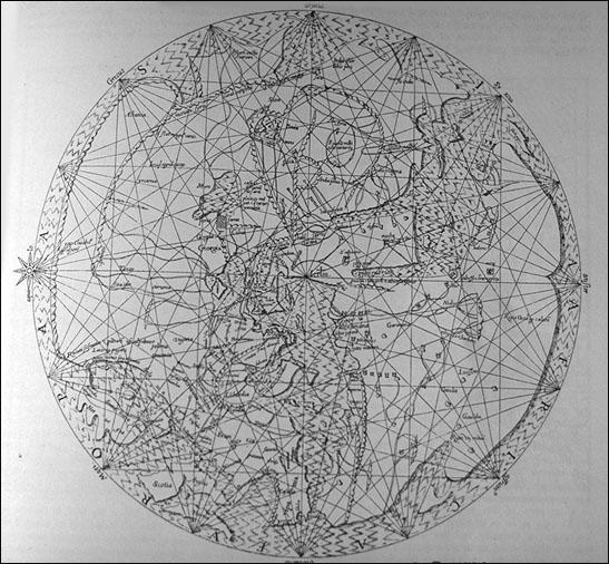 Pietro Vesconte mappamundi ca. 1320 35 cm Durchmesser (Ausrichtung Osten -> Oben)