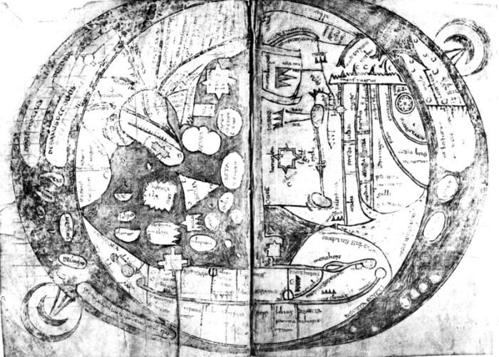 Weltkarte des Isidor von Sevilla (570-636), Etymologiae; Handschrift ca. 780 n.Chr. Rom, Bibliotheca Apostolica Vatcana Vat.Lat. 6018, fol. 63 v / 64 r
